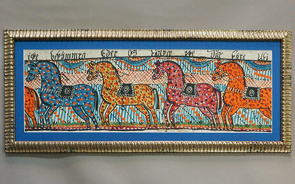 Folk Art Painting with Four Horses