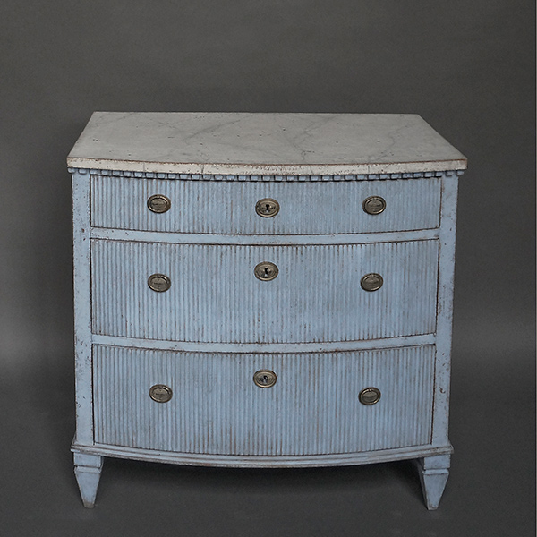 Bow Front Gustavian Style Three Drawer Chest