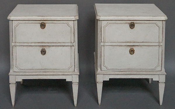 Pair of Two Drawer Swedish Nightstands