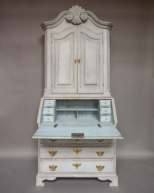Two Part Baroque Secretary with Original Hardware