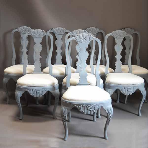 Set of 8 Swedish rococo dining chairs