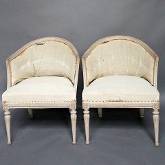 Pair of Gustavian Style Barrel Back Armchairs