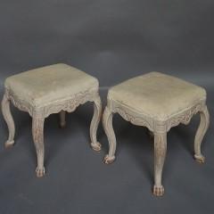 Pair of Antique Swedish Rococo Style Stools