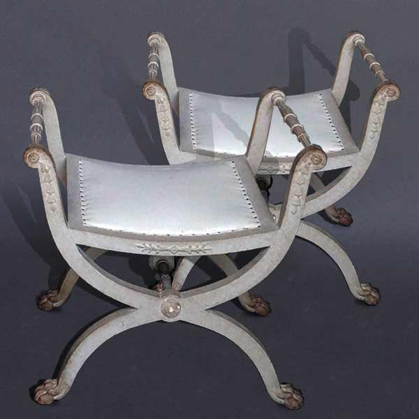 Antique Pair of Curule Stools in the Gustavian Style