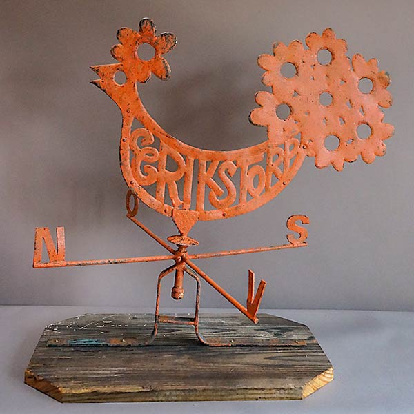 Antique Swedish rooster weathervane