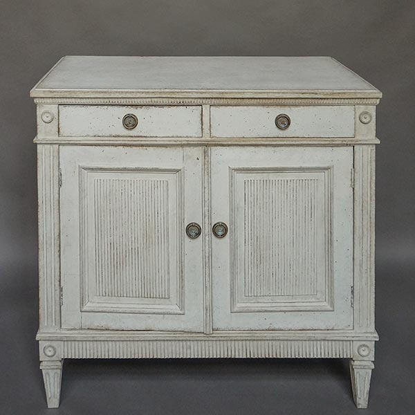 Gustavian style sideboard, Sweden circa 1890, with dentil molding.