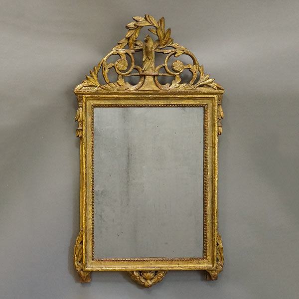 Period Gustavian mirror, Sweden circa 1770, in gilded frame reflecting the popular Chinoiserie look.