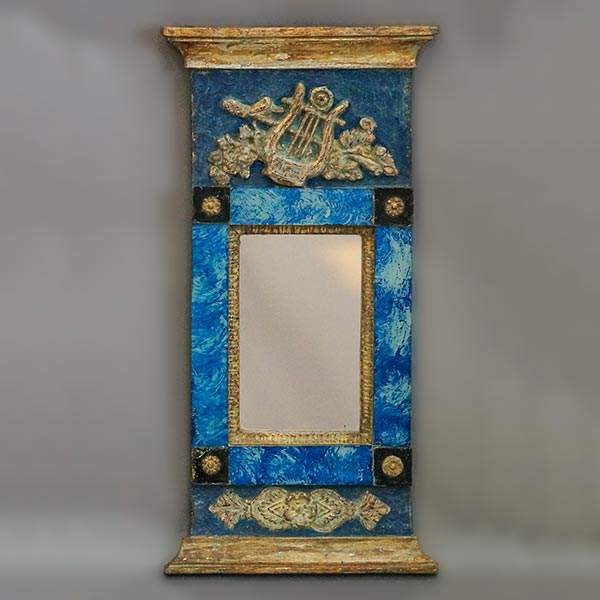 Small Swedish mirror, circa 1820, with applied classical detail on a brilliant blue ground.