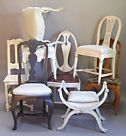 Swedish chairs and benches at Cupboards & Roses
