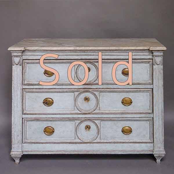 Period empire chest of drawers, Sweden circa 1850, with original marble top