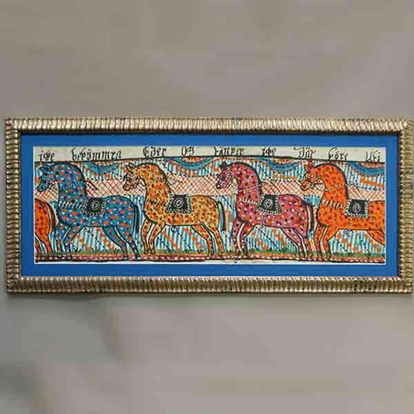 Swedish folk art painting with 4 horses, c 1820
