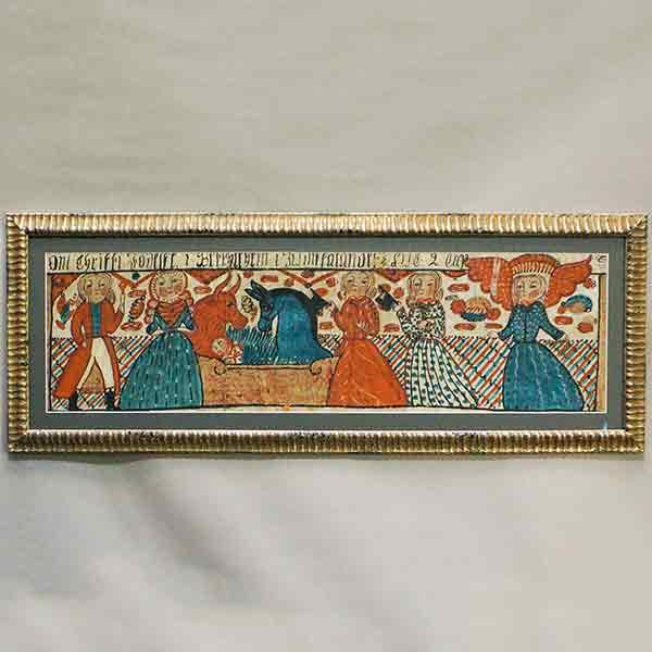 Antique Swedish bonad with nativity scene