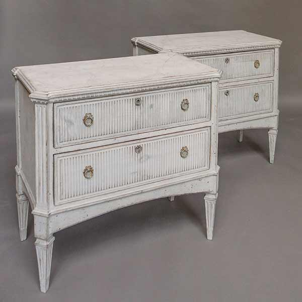 Pair of Gustavian Style Reeded Commodes