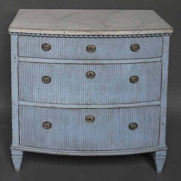 Blue Swedish bow front chest of drawers