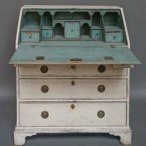 Swedish antique secretaire with blue interior
