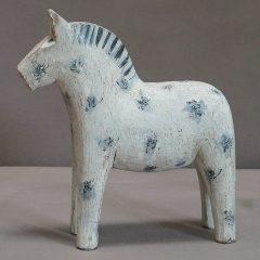 White Dala Horse with Blue-Gray Decoration