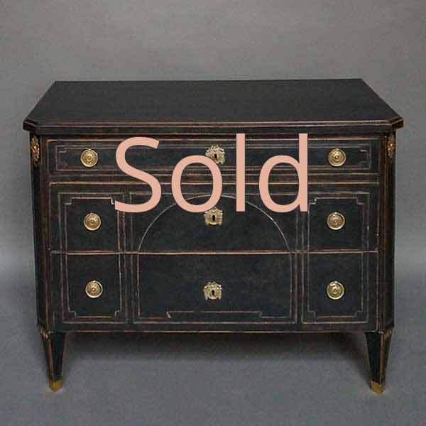 Period Neoclassical Chest of Drawers in Black Paint