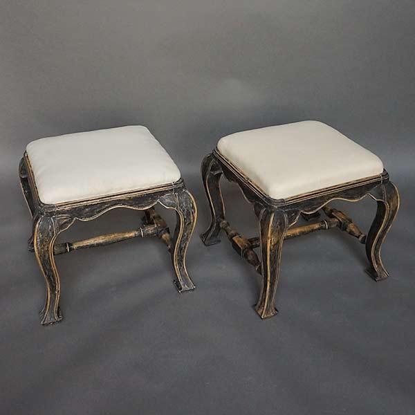 Pair of Antique Swedish Baroque Style Stools