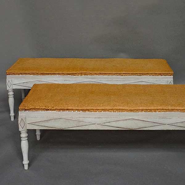 Rare Pair of Freestanding Swedish Benches