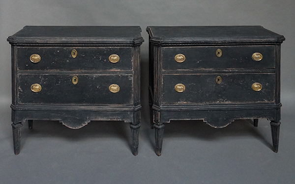 Pair of Black Two Drawer Commodes