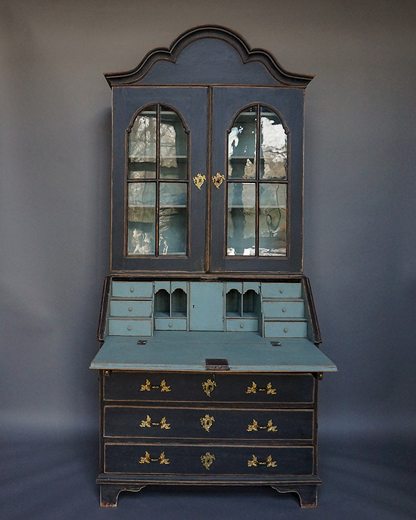Early Swedish Rococo Secretary with Old Glass