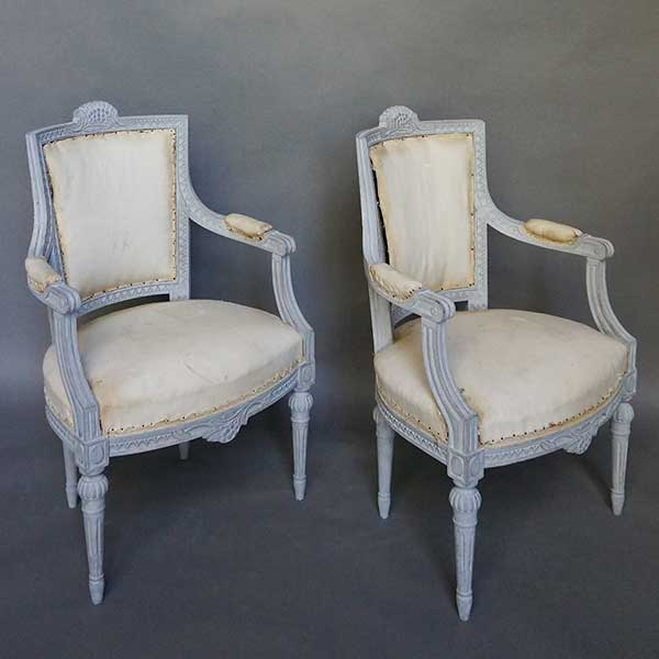Pair of Armchairs with Gustavian Style Carving