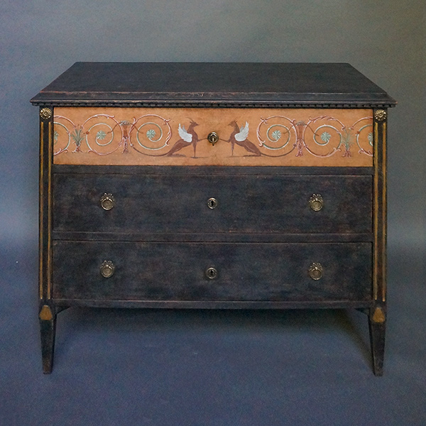 Period Neoclassical Chest of Drawers with Painted Frieze