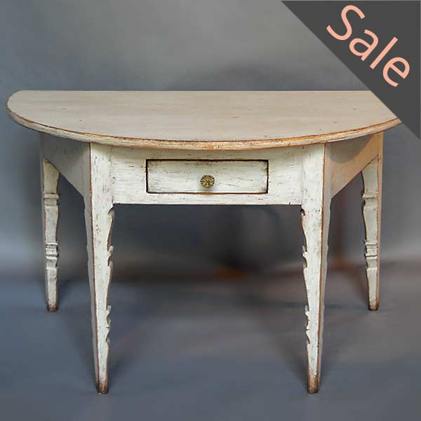 Demi-lune Console with Single Drawer