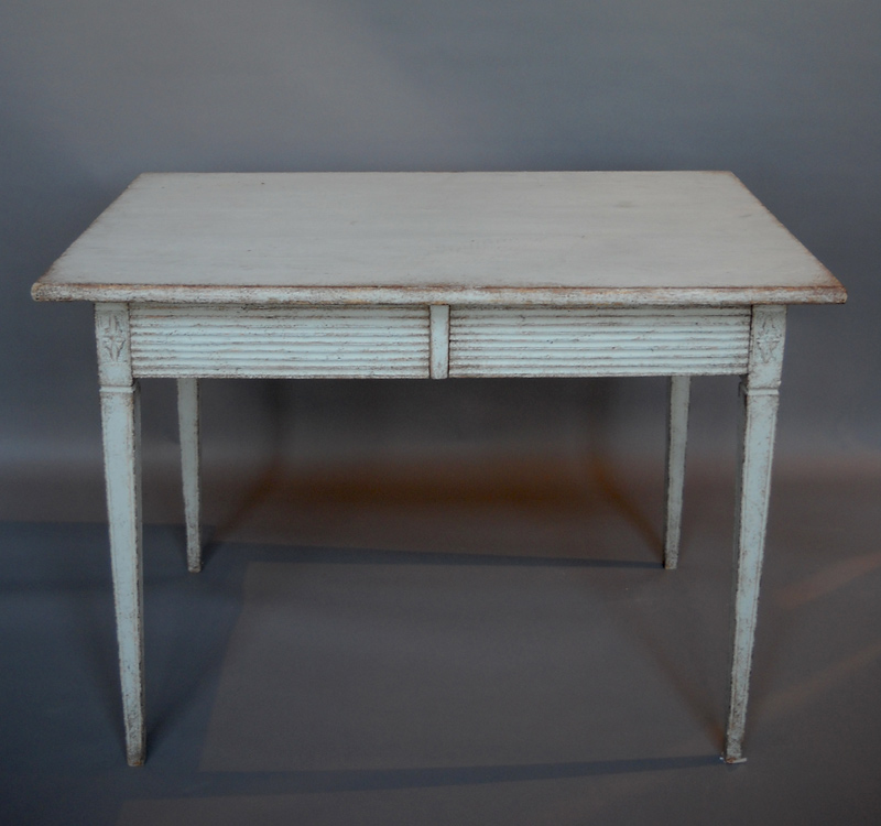 Gustavian side table with two drawers cupboards roses for Oka gustavian side table