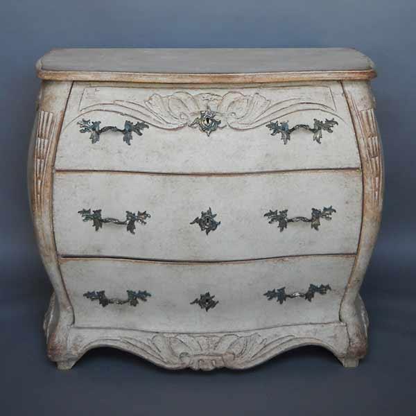 Antique Swedish bombe chest
