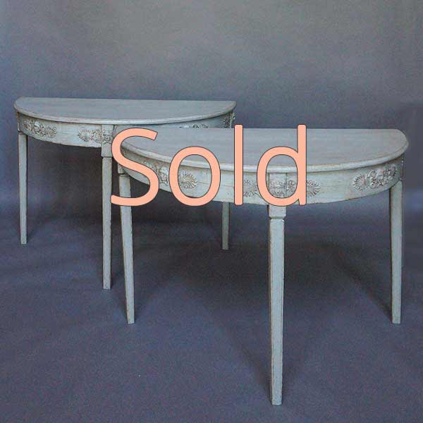 Pair of Neoclassical Demi-lune Tables