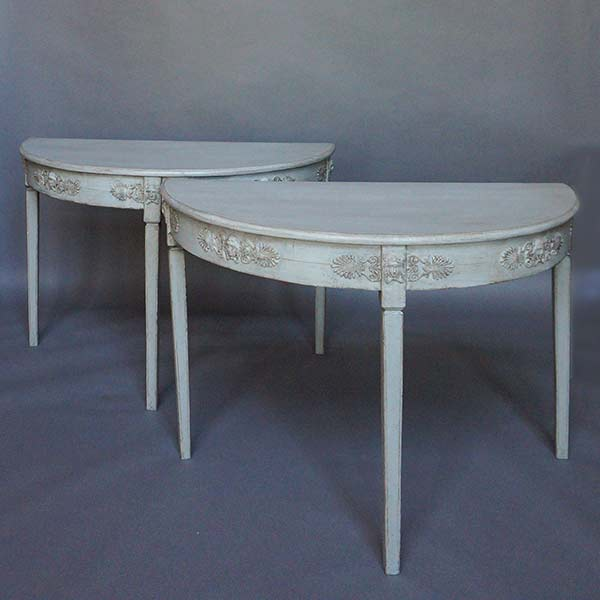 Pair of Swedish demi lune tables