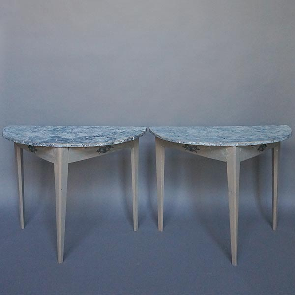 Pair of Demilune Tables with Marbled Tops