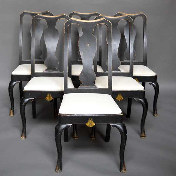 Set of 6 Swedish rococo dining chairs