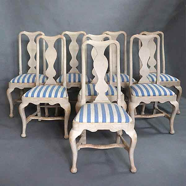 Set of 8 antique Swedish dining chairs