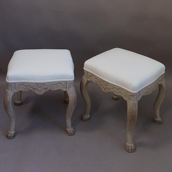Pair of antique Swedish rococo stools