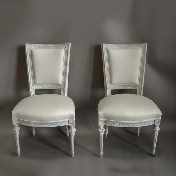 Pair Of Square Backed Swedish Chairs