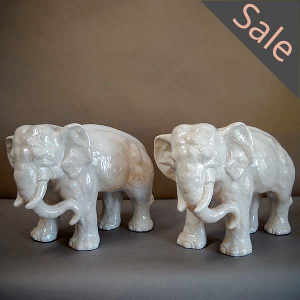 Pair of Stoneware Elephants