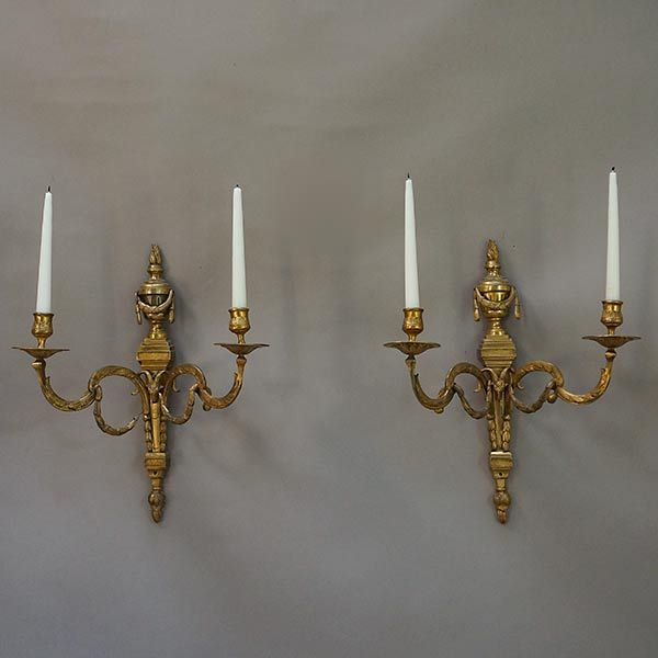 Pair of Brass Sconces in the Louis XVI Style