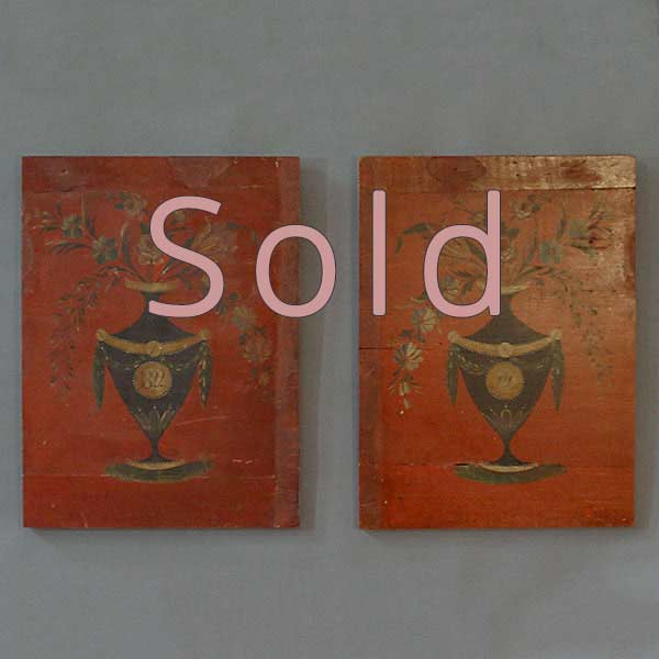 Pair of Paint Decorated Panels