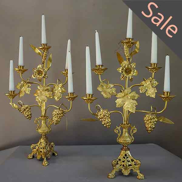 Pair of French Gilt Candelabra