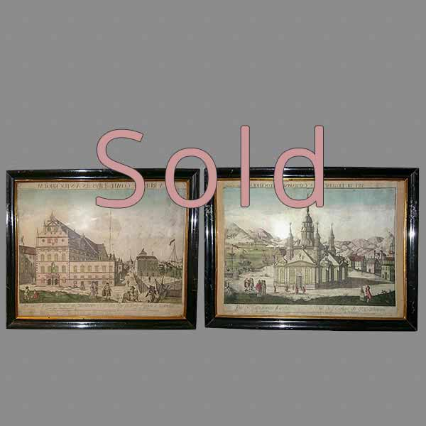 Pair of Hand-Colored Copper Plate Engravings