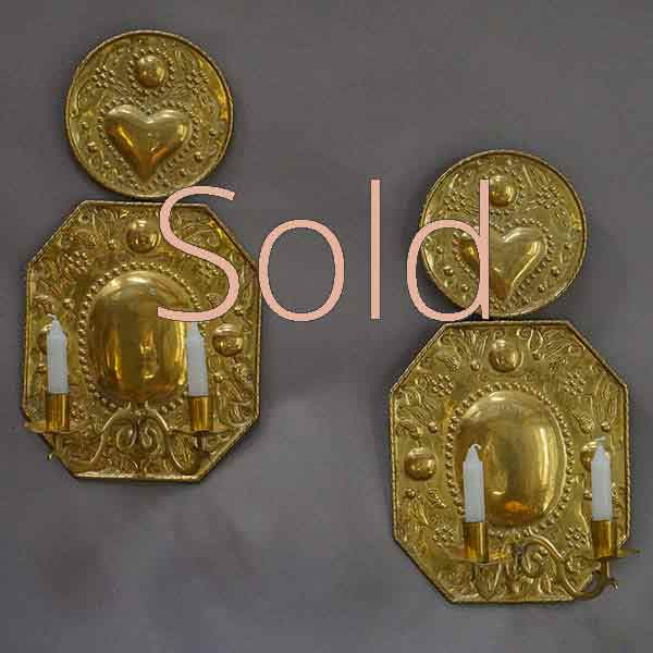 Pair of Hand-Hammered Brass Sconces