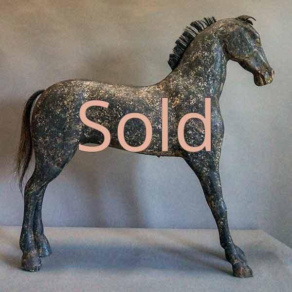 Antique Swedish Horse in Black Paint