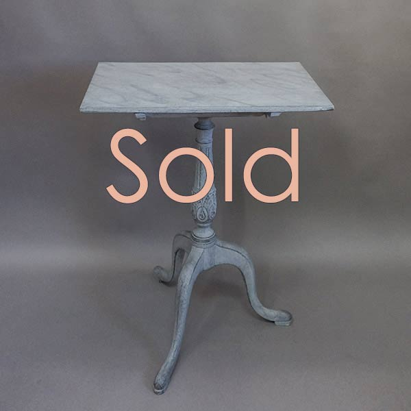 Swedish Tilt-Top Table with Faux Marble Top