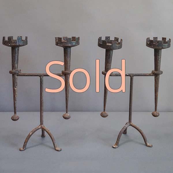 Pair of Renaissance Style Iron Candleholders