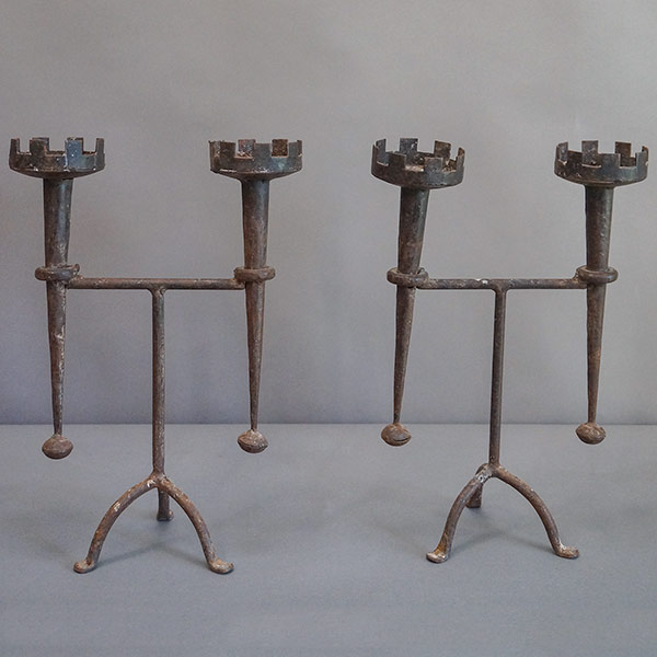 Pair of iron candleholders in the Renaissance revival style, Denmark circa 1910.