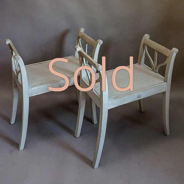 Pair of Swedish Stools with Pierced Armrests