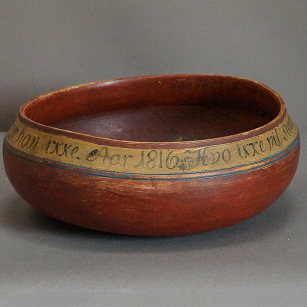 Wooden Danish bowl dated 1816
