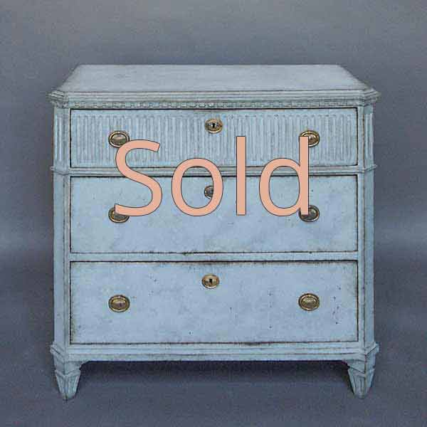Swedish Chest of Drawers in Blue